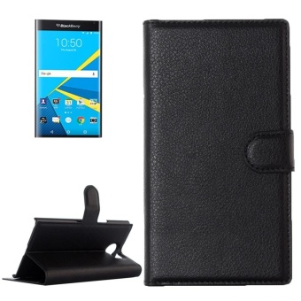 For Blackberry Priv Litchi Texture Horizontal Flip Leather CaseWith Magnetic Buckle and Holder and Card Slots and Wallet(Black) -intl