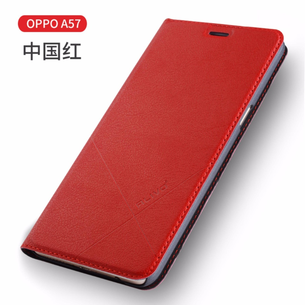 For OPPO A57 Flip Type Leather Cover Case Luxury Pu Leather Case(Red) -
