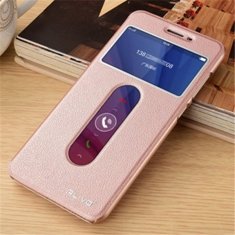 """For vivoY53 y53a y53L 5.0\ inch Double View Window Flip LeatherCover Case Luxury Pu Leather Case(Rose Gold) - intl"""""""