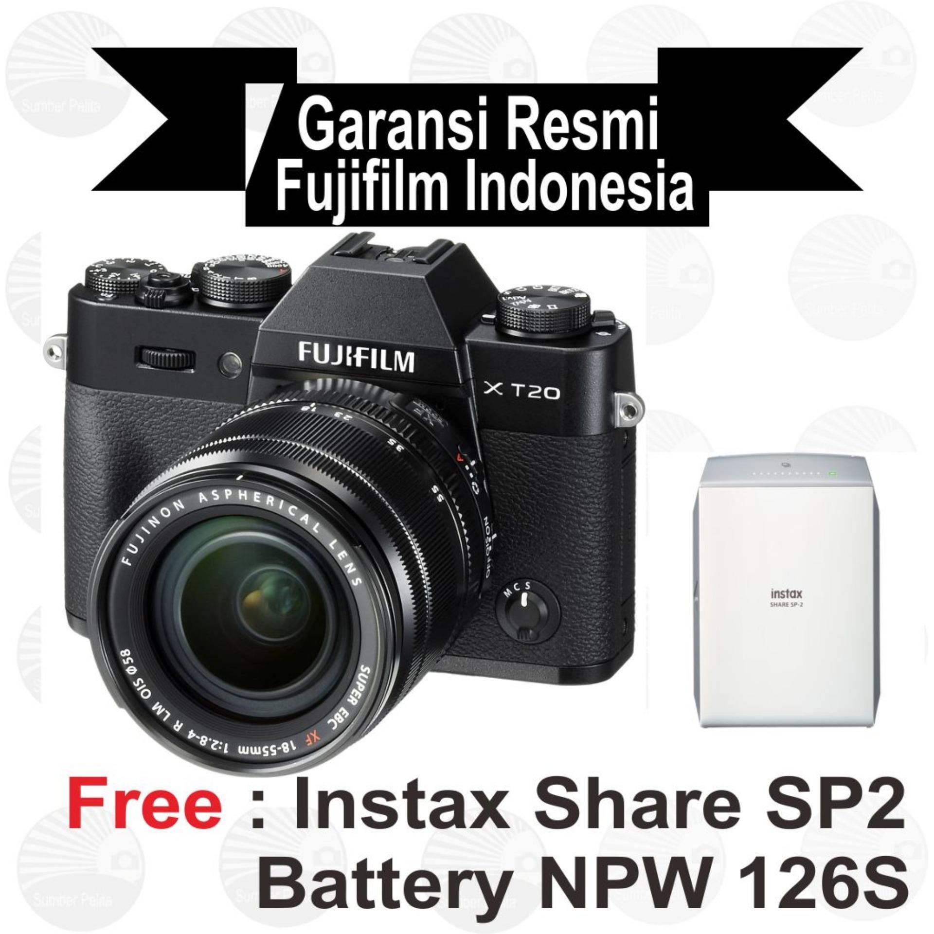 Fujifilm Xt 20 Mirrorless Camera With Kit Xc 18 55mm Hitam Instax X T100 Xc15 45mm F35 56 Ois Pzdark Silver Pwp Xf50 F2 T20 55 Mm Black Free Sp2 Batt