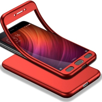 Full-Body Case For Xiaomi Redmi Note 4 Soft TPU Matte Finish SlimCover 2 in 1 Full Coverage Protection with Tempered Glass ScreenProtector Red - intl