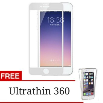 Full Cover Tempered Glass Screen Protector for Apple iPhone 5 / 5s/ SE - White + Gratis Ultrathin 360