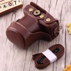 Full tubuh kamera PU kulit case casing dengan tali untuk Canon EOS M10 (cokelat kehitaman)