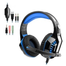 Gaming Headset with Extra 3.5mm Splitter Cable, Noise Cancelling Headphones with Microphone Volume Control and LED Light Xbox One Headset for PS4, PC, Mac, Computer-Blue - intl