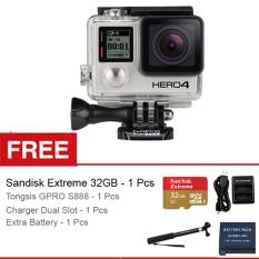 GoPro Hero 4 Black Edition + Gratis Sandisk Extreme 32GB + Charger ADHBT-401 + Tongsis GPRO S-888 + Baterai