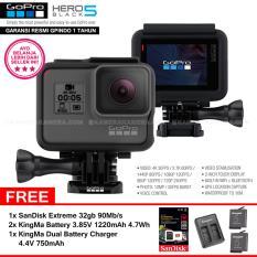 GoPro Hero5 Black 4K Ultra HD Camera Resmi IndoGP SanDisk Extreme 32Gb 90Mb S 2pcs KingMa Battery 385V 1220mAh 47Wh Dual Charger