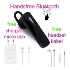 Handsfree Bluetooth+Hedset Kabel+Charger Usb For Sony Xperia E4/E4 Dual/E3/E3 Dual - Hitam