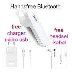 Handsfree Bluetooth+Hedset Kabel+Charger Usb For Sony Xperia E4/E4 Dual/E3/E3 Dual - Putih