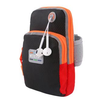 Hanyu Universal telepon Armband Case tas olahraga Fitness Jogginglari lengan Band tas kantong L (hitam) - International