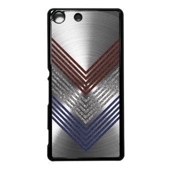 Heavencase Case Casing Sony Xperia M5 Hard Case Motif Kayu Chevron11 - Hitam