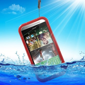 Heavy Duty IP-68 Waterproof Protection Case for HTC One M9 / M8 /M7 - Red