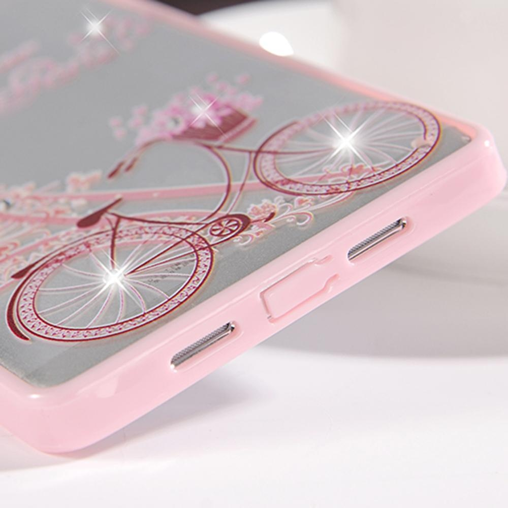 Hicase Cute Pink Soft TPU Case With Glitter Bling For OPPO R7S Bicycle&Tower .