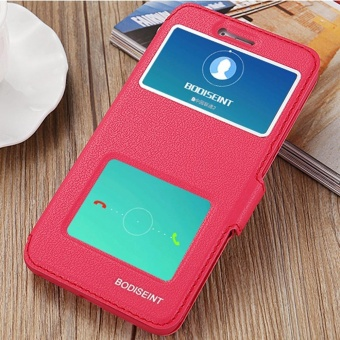 Hicase Ultra Thin Flip PU Leather Window View With Kickstand Feature Magnetic Closure Case Cover For Xiaomi Redmi Note 4X Red - intl