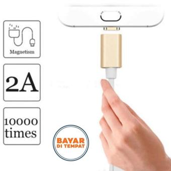 High Quality Kabel Data Fast Magnetic 2in1 Micro USB dan iPhoneLightning - Putih