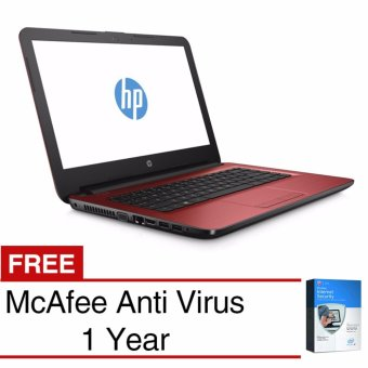 "HP Notebook - 14-am017tx - 14"" - 4GB - AMD Radeon™ R5 ( 2.3 GHz ) - Merah + Mcafee - Value 250rb"