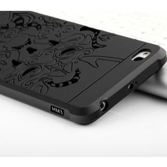 Hunter Cocose Drop Resistance Armor Carved Dragon Silikon Back Case For Xiaomi Redmi 3 - Black - 3