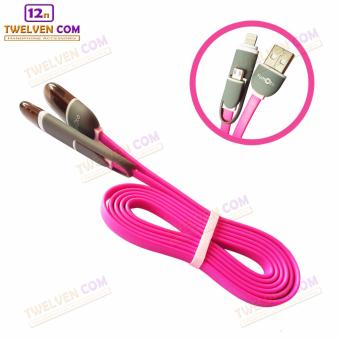 Harga Yumoto Kabel Data Multifungsi 2 IN 1 - Iphone 5 & Android / Microusb to Lightning - Pink