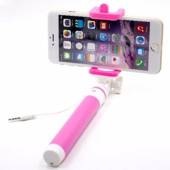 Tongsis Monopod Selfie Stick Kabel Lipat - Pink