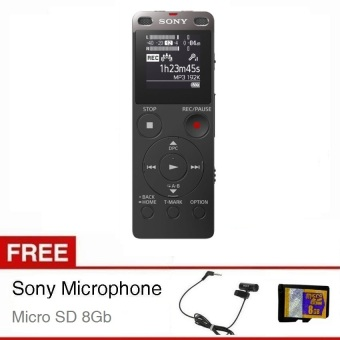 Harga Sony Voice Recorder ICD-UX560F - Hitam + Gratis Microphone + Micro SD 8Gb
