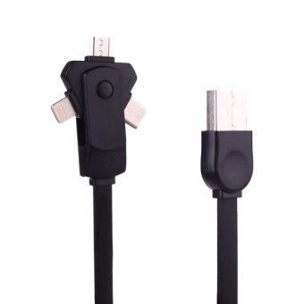 1m 2A 3 In 1 Rotational 8 Pin + Type-C + Micro USB To USB TPE Data Sync Charging Cable For IPhone and IPad and IPod and Samsung and HTC and LG and Sony and Huawei and Xiaomi and Meizu and OPPO(Black) - intl