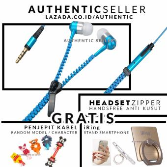 Harga Authentic Handsfree Zipper Metallic - Headset Resleting Audio Bass Gratis Penjepit Kabel + iRing Stand