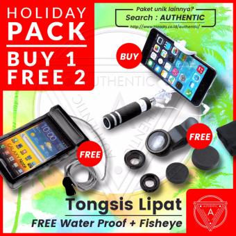 Harga Authentic Tongsis Mini Tombol Lipat Portable - Selfie Tongkat Narsis Otomatis Gratis Water Proof + Lens 3in1 Fish eye, Wide, Macro
