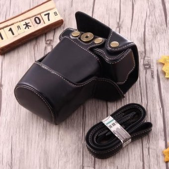 Harga Full Body Camera PU Leather Case Bag With Strap For Canon EOS M3 (Black) - intl
