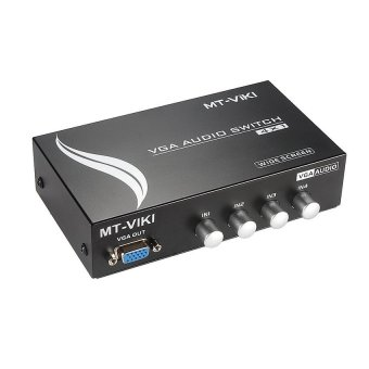 Harga MT-VIKI 4 Ports 4-In 1-Out VGA and AUDIO Metal Splitter Amplifier Switch Adapter MT-15-4AV - Intl