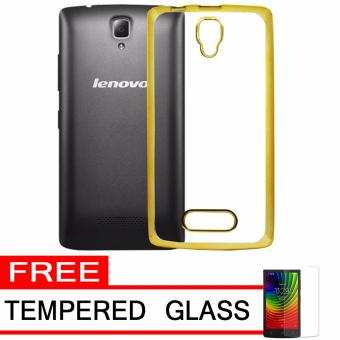 ... Softcase Silicon Jelly Case List Shining Chrome for Lenovo A2010 Gold Free Tempered Glass