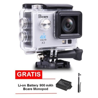 Harga Bcare Action Camera - B-Cam X-3 WiFi with LED lamp - 16MP - Silver + Gratis Monopod +Battery 900 mAh