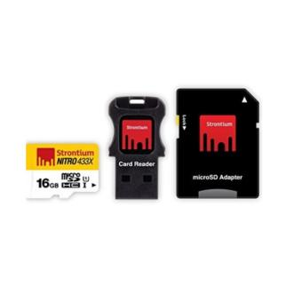 Harga STRONTIUM MICROSDHC UHS-1 CARD NITRO 65MB/S 433X 16GB With Adapter And Card Reader