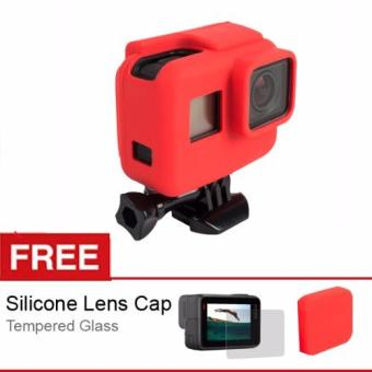 Harga Rajawali Silicone Case For Gopro Hero 5 - Red - Free Lenscap + Tempered Glass Hero 5