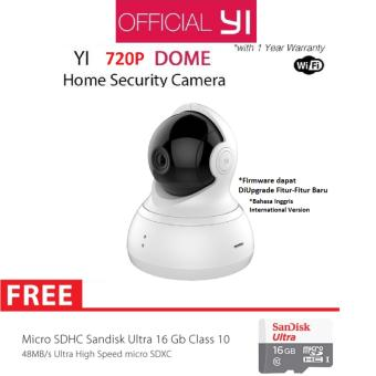 Harga Xiaomi Yi Dome Home Camera 360 CCTV International Version + Micro SD Sandisk 16GB Class 10 - Putih