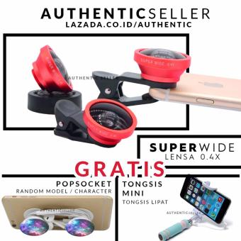 Harga Authentic Lens Superwide 0.4X - Lensa Kaca Asli Wefie / Selfie Gagang Besi Gratis Tongsis Mini Holder U Tombol Lipat + Popsockets / Pop Socket