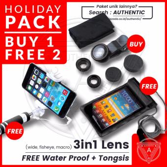 Harga Beli 1 Dapat 2 - Paket Liburan Authentic - Lensa 3in1 Fisheye - Wide - Macro Lensa Universal Gratis Tongsis Mini Holder U Lipat Tombol Free Bonus Water Proof