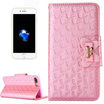 Harga For IPhone 7 Plus Bowknot Embossing Horizontal Flip Leather Case With Holder and Card Slots and Wallet (Pink) - intl