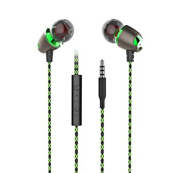 Harga PLEXTONE X50M Rich Bass Stereo Headsets 3.5mm Plug In-ear Sports Earphones with Mic (Green)
