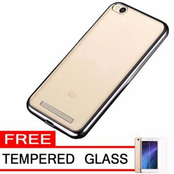 Softcase Silicon Jelly Case List Shining Chrome for Xiaomi Redmi 4A - Black + Free Tempered
