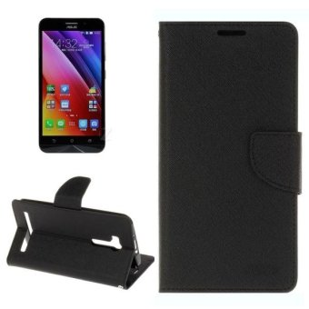 Harga For Asus ZenFone Max / ZC550KL Cross Texture Horizontal Flip Leather Case With Holder and Card Slots and Wallet(Black) - intl