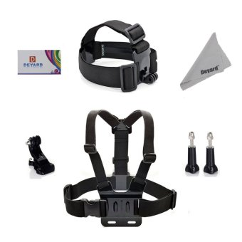 Harga Deyard ZG-730 GoPro Accessories Kit Essential Set for GoPro Hero 5 Session Hero4 Session Hero 5 4 3+ and Original Hero: Head Strap Mount + Chest Harness + J-Hook Mount + 2pcs Thumbscrews + Deyard Fiber Cloth