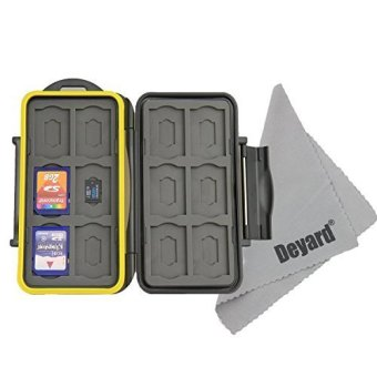 Harga Deyard K020 Water-resistant Memory Card Case Shockproof Memory Card Carrying Box: 24 Slots for 12 SDHC / SDXC Cards and 12 Micro SD Cards - Upgraded R - intl