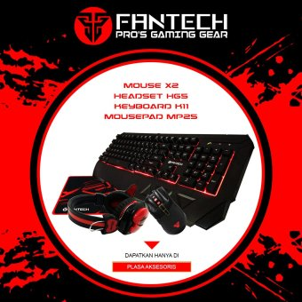 Fantech Keyboard Gaming K11 + Headset Gaming Fantech HG5 + Mouse Gaming Macro Fantech X2-Hitam + Mousepad Gaming Mp25