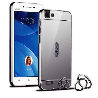 Case for Vivo Y35 Aluminium Bumper With Mirror Backdoor Slide Black