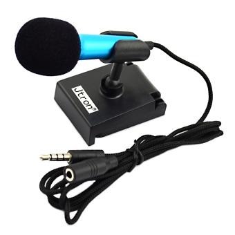 Harga Jtron 3.5mm Stylish Mini Mobile Stereo Microphone - Black + Blue - intl
