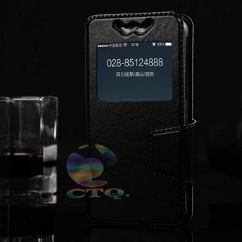 Harga Leather Windows View Case For CoolPad Fancy 3 Smartphone Slide Up Case Universal Flipshell / Universal Flipcover / Universal Flip Cover Kulit / Universal Sarung Case / Universal Sarung Handphone - Hitam