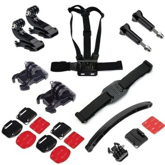 Harga SHOOT Basic Common Outdoor Sport Accessory Bundle Kit with Chest Strap Mount with Helmet Accessory for GoPro SJCAM Yi Action Camera