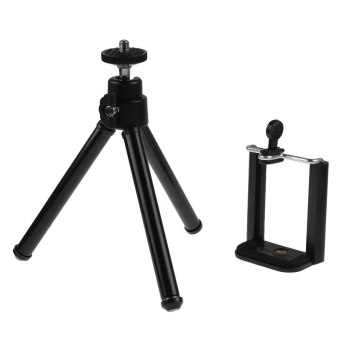 Harga 360 Rotatable Metal Stand Tripod Mount Phone Holder For iPhone for Cell Phone Black