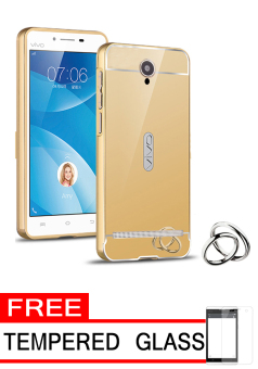 Harga Case for Vivo Y28 Aluminium Bumper With Mirror Backdoor Slide - Gold + Gratis Tempered Glass