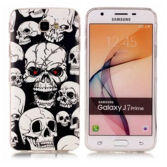 Harga Skull ghost head Noctilucent TPU Soft Gasbag Back Case Cover For Samsung GALAXY J7 Prime Case - intl