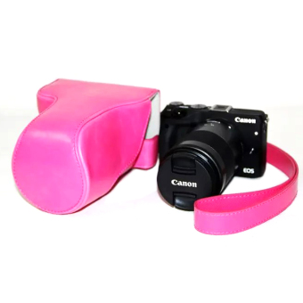 Harga PU Leather Camera Case Bag For Canon EOS M3 (Rose red)